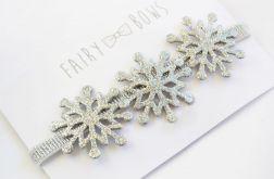 FairyBows opaska srebrne śnieżynki ŚWIĘTA