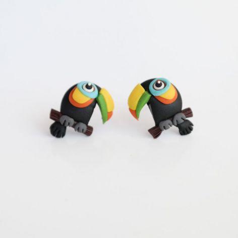 Tukany - maleńkie kolczyki wkręty