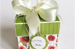Ślubny exploding box -maki polne z zielenią