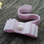 Opaska  kokardka z perełką różowa