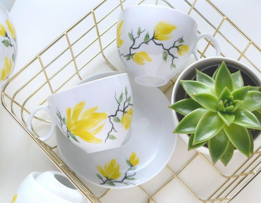 """Filiżanka 250 ml ze spodkiem ,,Żółta magnolia"""" - Dwie"""