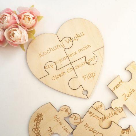 Zaproszenie, prośba do chrzestnych - puzzle I