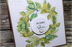 Ślubna kartka z zielonym wieńcem