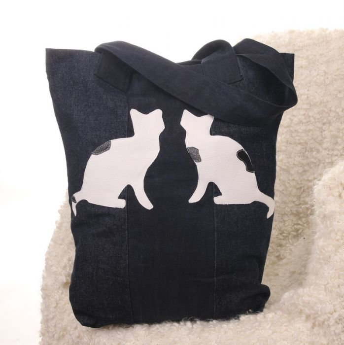Torba na zakupy z kotami Kot dżinsowa