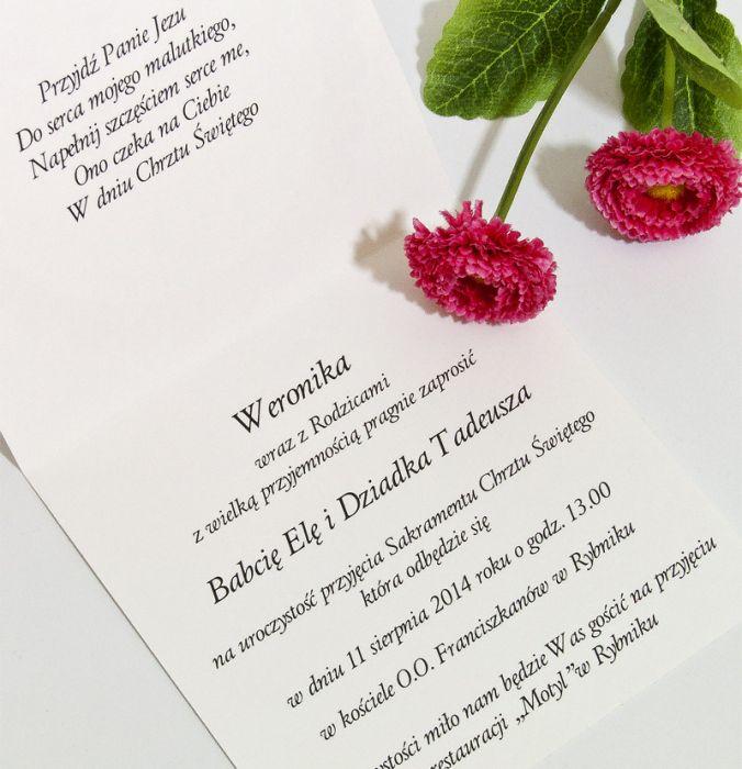 Ekskluzywne zaproszenie chrzest zdjęcie róż