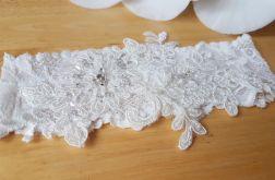 Biała podwiązka ślubna koronkowa
