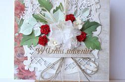Kartka imieninowa czerwona róża 1881