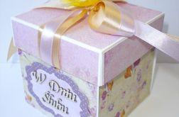 Pudełko, kartka ślubna fioletowa ze słonecznikiem