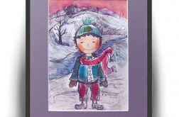 Zimowy chłopczyk, ilustracja dla dzieci