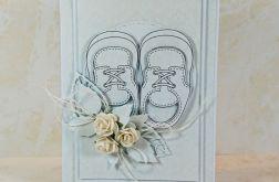 Kartka na Chrzest Święty z bucikami-krem