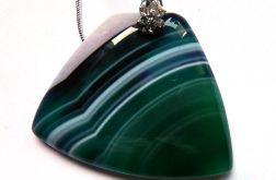 Zielony agat pasiasty w kształcie trapezu