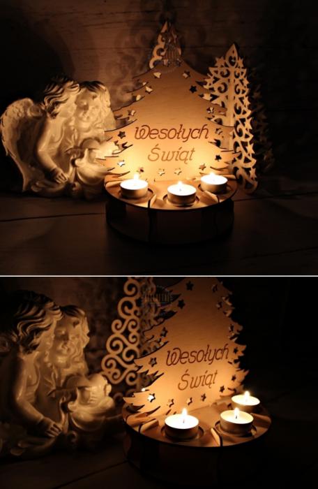 CHOINKA świecznik LAMPION Xmas DREWNIANY