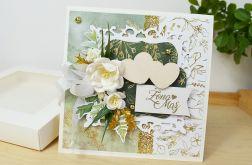 Zielono-złota kartka ślubna z pudełkiem