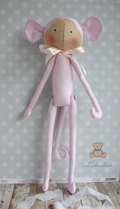 Małpka Tilda pudrowy róż przytulanka GOTOWA -