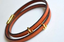 Bransoletka orange leather + anchor