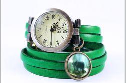 Bransoletka, zegarek - Słoń - skórzany, zielony, antyczny brąz