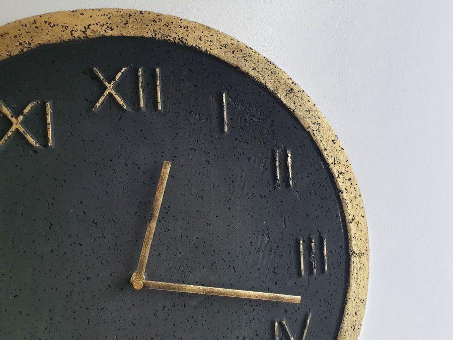 Zegar Betonowy Handmade Roman Grafit Złoto - Roman Metallic Grafit/Złoto #2