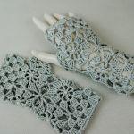 Rękawiczki, mitenki popielate - Ażurowe rękawiczki