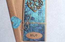kartka ślubna :: geometric heart :: turquoise