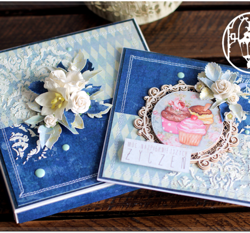 Urodziny, tort, kartka pudełko niebieska