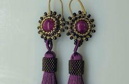 Kolczyki fioletowe chwosty z kamieniem