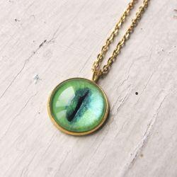 Naszyjnik z malowanym szkłem, kocie oko