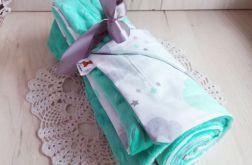 Kocyk minky + bawełna - miętowe chmurki