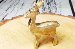 Rustykalny stojący jelonek złoto święta