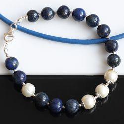 Lapis lazuli z perłą - bransoletka