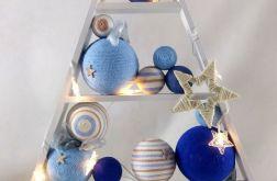 Choinka drewniana gwiazdki 10 LED Niebieska