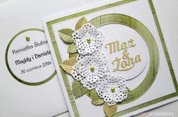 Kartka MĄŻ & ŻONA zielono-biała