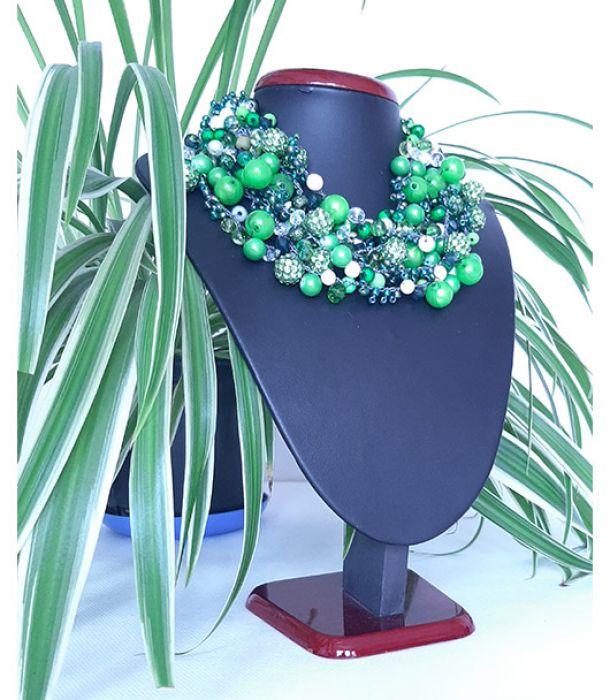 4225 naszyjnik kolia zielony kremowy