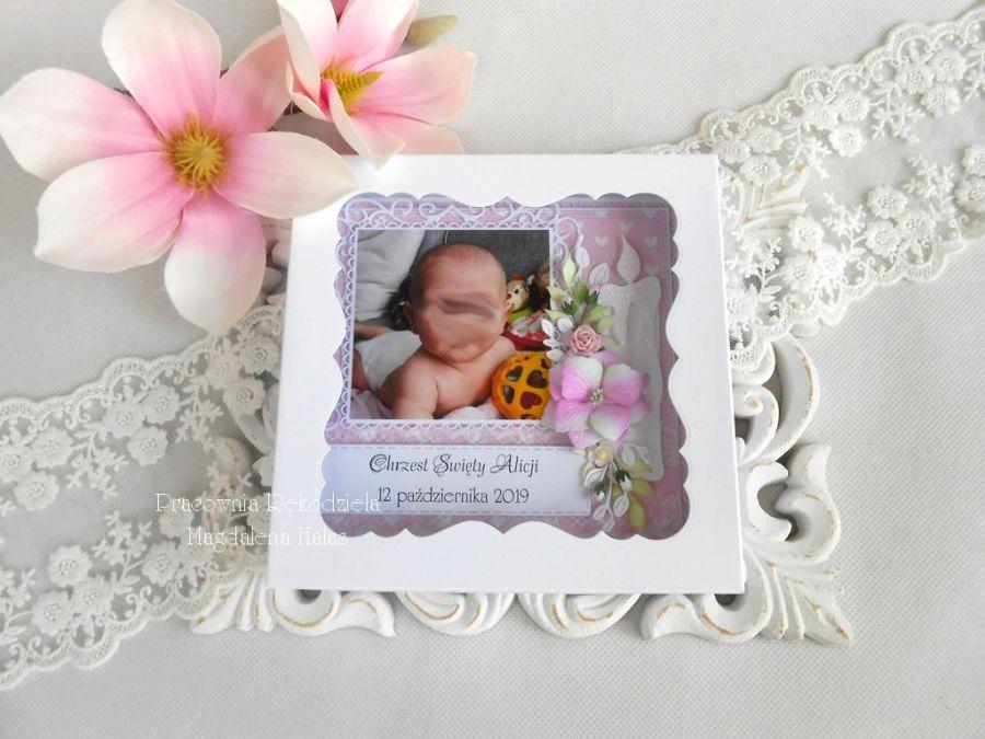 Pamiątka chrztu ze zdjęciem w pudełku