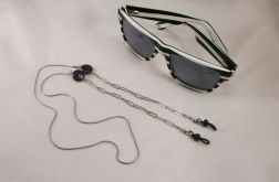 Łańcuszek do okularów stal i perły keishi
