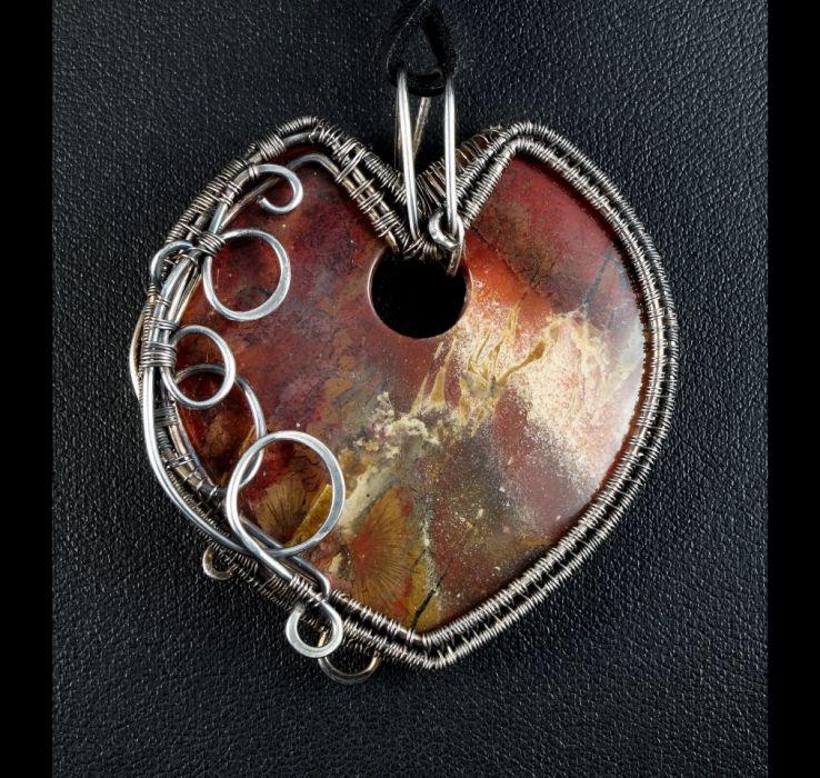 Jaspis, Miedziany wisior z jaspisem czerwony - wisior wire wrapped