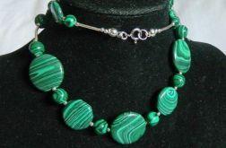 Malachit zielony, srebro, elegancki naszyjnik