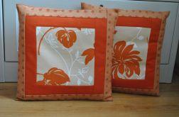 Komplet poszewek patchworkowych - rude kwiaty