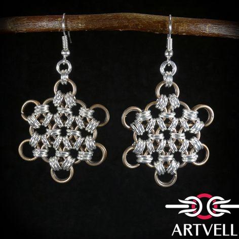 Kolczyki wiszące chain maille gwiazdki srebrno antyczne