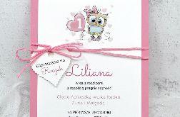 Zaproszenie na Roczek sowa różowe ZUD 005