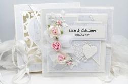 Piękna kartka na Ślub w pudełku ażurowe serca