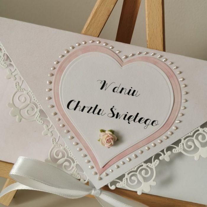 Kartka na Chrzest Chrzciny z okazji Chrztu różowa - zbliżenie