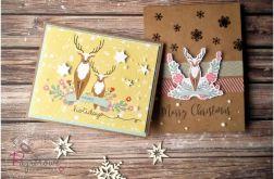 Zestaw kartek świątecznych z reniferami
