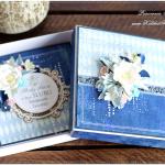Ślub, kartka pudełko niebieska