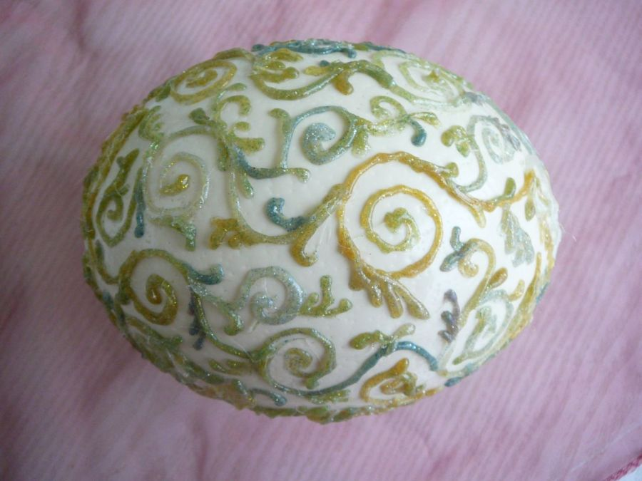 Jajko Strusia Reliefowe z Brokacikiem