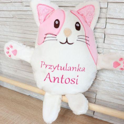 Kotek przytulanka z imieniem, dedykacją