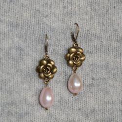 Kolczyki retro z perłami i różami