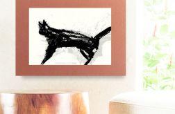 30x40cm plakat z kotem na brązowym tle