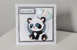 Kartka na Roczek ręcznie robiona panda