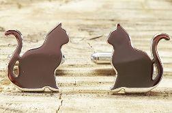 srebrne spinki do mankietów kot, koty