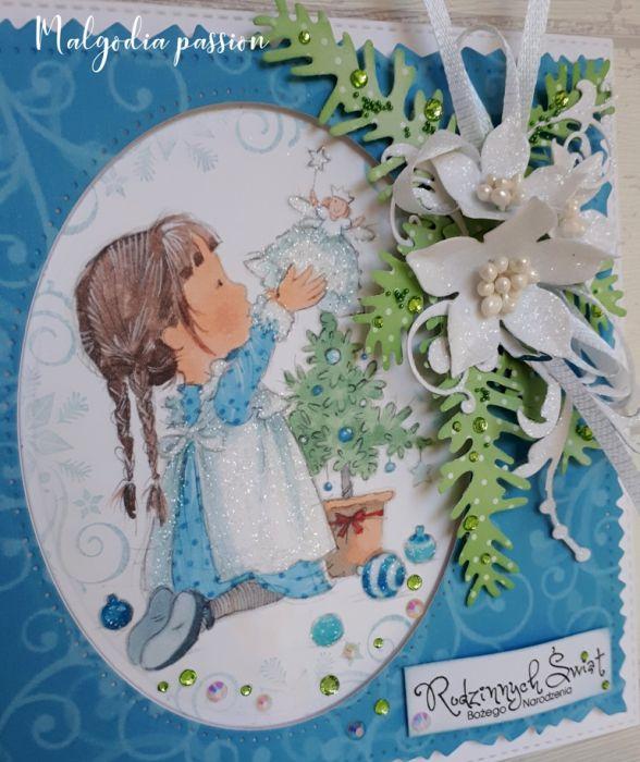 Kartka świąteczna z dziewczynką